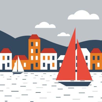 Adesivo Città in riva al mare