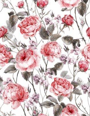 Adesivo Classico annata motivo floreale senza soluzione di continuità, acquerello bouquet di