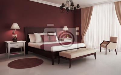 Classico, rosso, camera da letto di lusso, con lampadario e divano ...