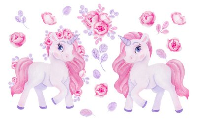 Adesivo Clipart with watercolor hand draw unicorn and flowers