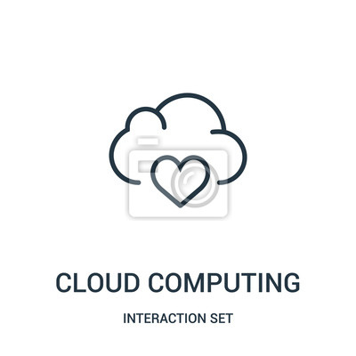 Adesivo cloud computing icon vector from interaction set collection. Thin line cloud computing outline icon vector illustration.