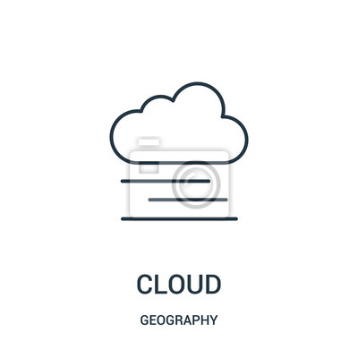 Adesivo cloud icon vector from geography collection. Thin line cloud outline icon vector illustration.