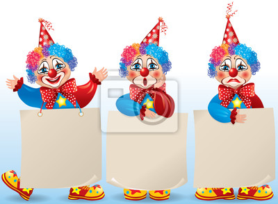 originale a caldo ultima collezione 100% autenticato Adesivo: Clown con carta bianca in stati danimo diversi