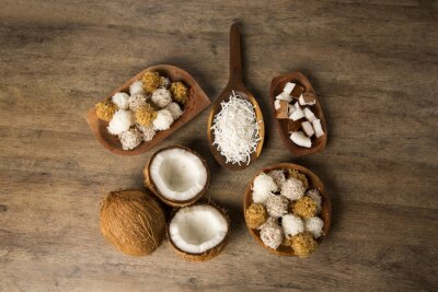 Adesivo cocadas peruviani, un dolce tradizionale di cocco venduti di solito su