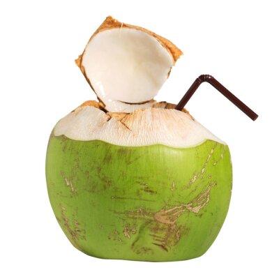 Adesivo Cocco drink di frutta acqua isolato su bianco