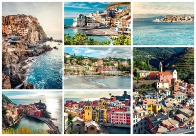 Adesivo Collage di maggior famosi punti di riferimento in Italia. Italiano Riviera-Genova, Manarola, Vernazza, Bogliasco, Santa Margherita.