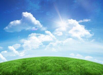 Adesivo Collina verde sotto il cielo blu