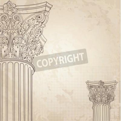 Adesivo Colonne classiche seamless background. Roman colonna corinzia. Illustrazione onold sfondo carta per il design schizzo