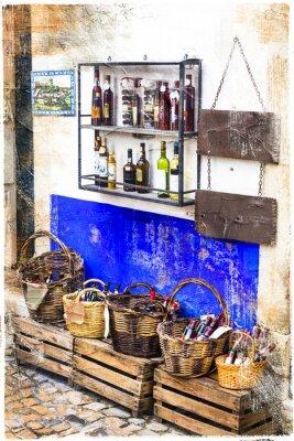 Adesivo colorati negozi del centro storico Obidos in Portogallo, immagine artistica
