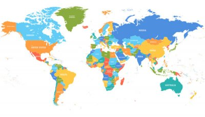 Adesivo Colored world map. Political maps, colourful world countries and country names. Geography politics map, world land atlas or planet cartography vector illustration