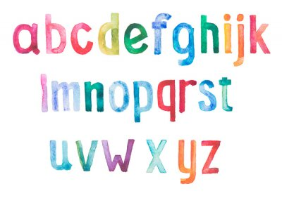 Adesivo Colorful acquerello aquarelle tipo di font draw mano a mano