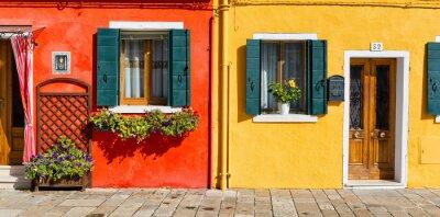 Adesivo Colorful facciata della casa a Burano, Italia