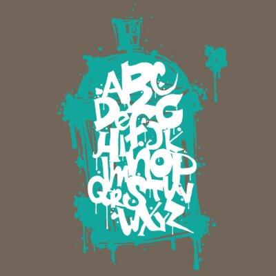 Adesivo Colorful graffiti lettere alfabeto carattere. Graffiti hip hop progettazione