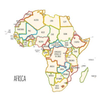 Adesivo Colorful hand drawn political map of Africa.