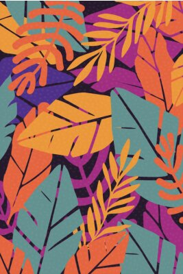 Adesivo Colorful leaves seamless pattern background vector illustration. Exotic plants, branches and leaves art print for beauty, fashion and natural products, spa and wellness, wedding and events poster