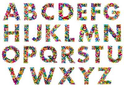 Adesivo Colorful maiuscole lettere dell'alfabeto