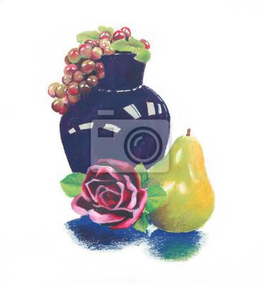 Adesivo colorful pastello a olio ancora vita vaso blu scuro e uva viola con rosa rosso e verde giallo pera composizione di frutta, disegnati a mano illustrazione clipart è isolato su sfondo bianco