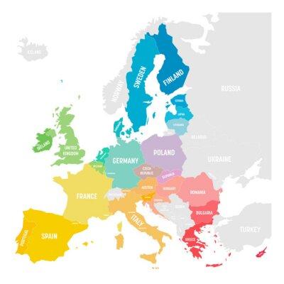 Adesivo Colorful vector map of EU, European Union, member states