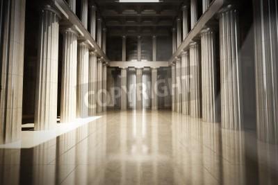 Adesivo Column interior empty room, law or government background concept, 3d model scene