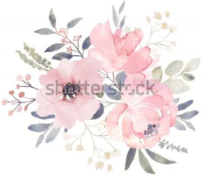 Adesivo Composizione del mazzo decorata con i fiori rosa polverosi dell'acquerello e la pianta dell'eucalyptus