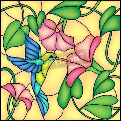 Adesivo Composizione floreale con fiori tropicali e volare ronzio colibri uccelli, illustrazione vettoriale