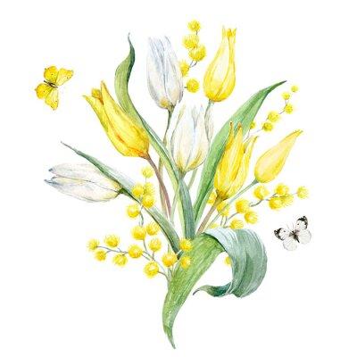 Adesivo Composizione tulipano acquerello