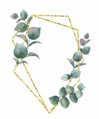 Adesivo Composizione vettoriale acquerello dai rami di eucalipto e cornice geometrica oro.