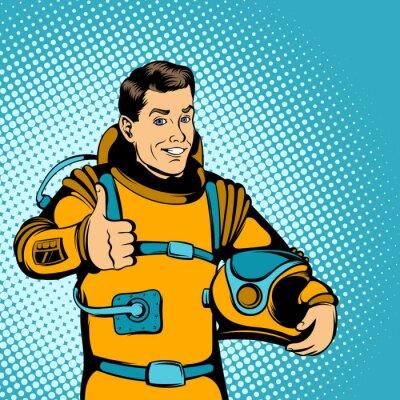 Adesivo concetto Astronauta, stile fumetto