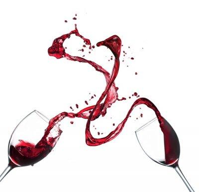 Adesivo Concetto di spruzzi di vino rosso di occhiali su sfondo bianco