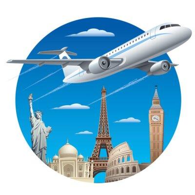 Adesivo concetto di viaggio aereo