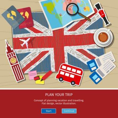 Adesivo Concetto di viaggio o di studiare l'inglese.