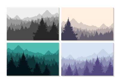 Adesivo Concetto illustrazione inverno set foresta paesaggio