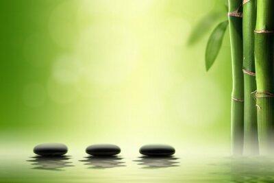Adesivo Concetto Zen. Spa pietre nere in foresta di bambù.
