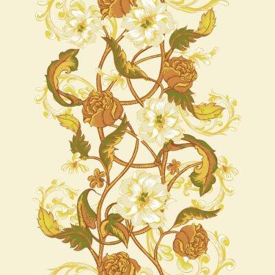 Adesivo confine senza soluzione di continuità Vintage con fioritura magnolie, rose e ramoscelli