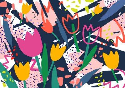 Adesivo Contesto orizzontale creativo con i fiori del tulipano e le macchie e lo scarabocchio astratti variopinti. Luminoso colorato sfondo decorativo. Illustrazione vettoriale artistica alla moda in stile ar