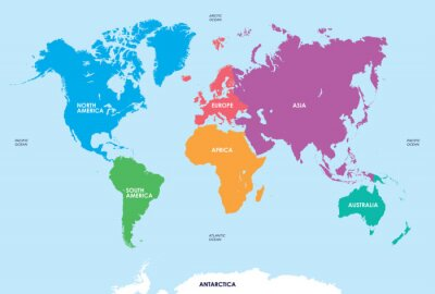Adesivo Continenti del mondo, mappa