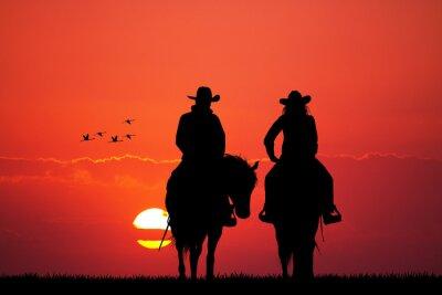 Adesivo coppia cavallo silhouette