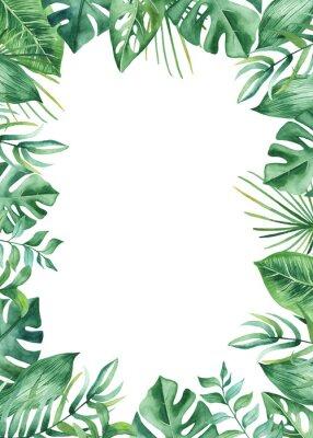 Adesivo Cornice dell'acquerello con foglie e fiori tropicali, macchie di acquerello. Modello dorato, rotondo, poligonale per biglietti, inviti, disegni di nozze ed estivi.