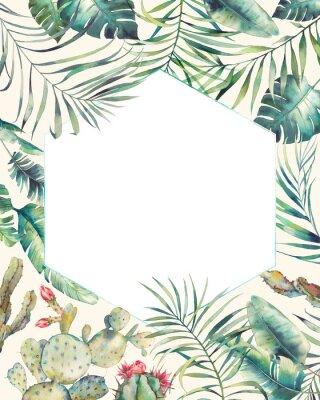 Adesivo Cornice di piante tropicali esagonali. Carta di estate disegnata a mano con cactus, rami esotici, foglie di banano, Palma. Modello di saluto o logo.