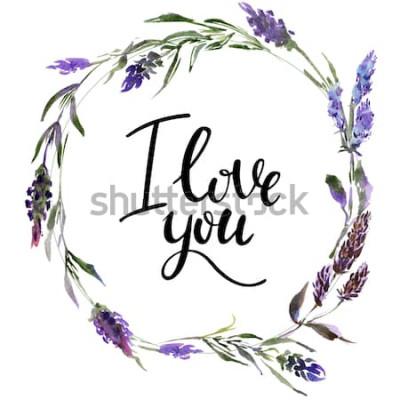 Adesivo Corona di fiori di San Valentino. Illustrazione del fiore dell'acquerello con l'iscrizione ti amo