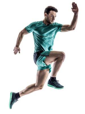 Adesivo corridore jogger uomo che corre isolato