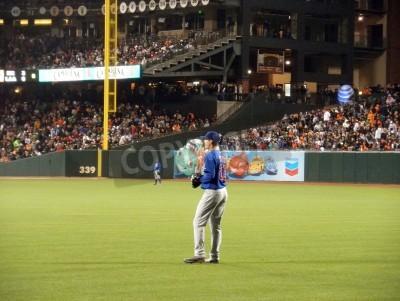 Adesivo Cubs vs Giants: outfielders Cub tra cui Tyler Colvin stanno intorno fra i giochi. Preso 9 Agosto 2010 a Att Parco San Francisco in California
