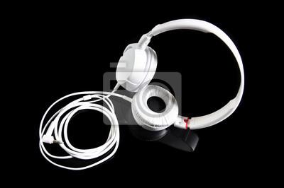 Cuffie moderne bianchi su sfondo nero adesivi per il computer ... 89ce88006e3c