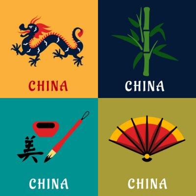 Adesivo cultura e tradizione cinese icone piane