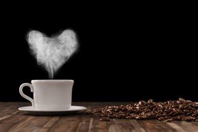 Adesivo Cuore del vapore davanti a un caffè