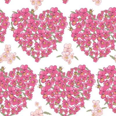Adesivo Cuore rosa di viole del pensiero su uno sfondo bianco. sfondo trasparente