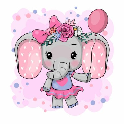 Adesivo Cute Cartoon Elephant with flowers on a white background