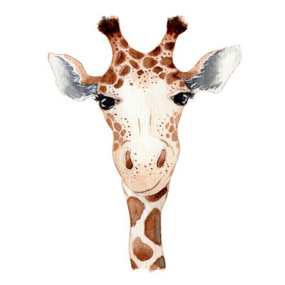 Adesivo Cute giraffe cartoon watercolor illustration animal