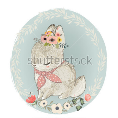 Adesivo Cute Hare with Floral Wreath