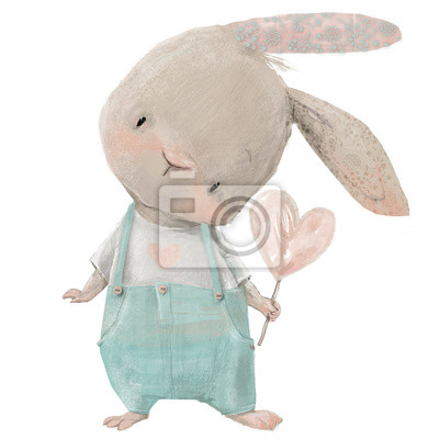 Adesivo cute hare with heart in hand